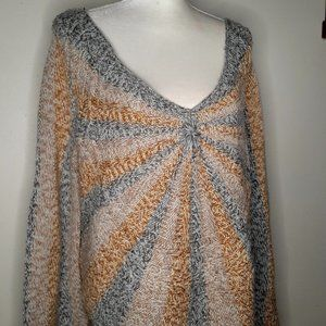 Free People Multi Color Asymmetrical Sweater